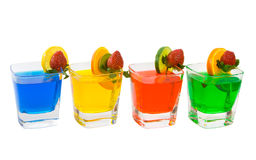 Four Colorful Mixed Drinks Stock Photography