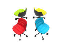 Four colorful office chairs on white background Royalty Free Stock Images