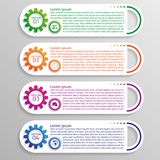 Four colorful options of infographics with gears Stock Image