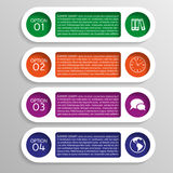Four colorful options of infographics with gears Stock Photos