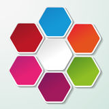 Four Colorful Paper Hexagons Royalty Free Stock Photos