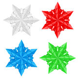 Four colorful paper snowflakes Stock Photography