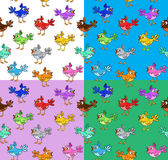 Four colorful  patterns with funny cartoon birds. Stock Images