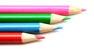 Four colorful pencils Royalty Free Stock Photography