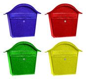 Four colorful post boxes Royalty Free Stock Photos