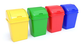 Four colorful Recycle Bins Royalty Free Stock Photography