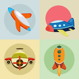Four colorful rockets icons. Stock Images
