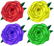 Four colorful roses Stock Photography