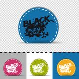Four Colorful Round Black Friday Sale Buttons - Vector Illustration - Isolated On Transparent Background vector illustration