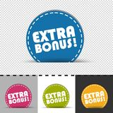 Four Colorful Round Buttons Extra Bonus - Vector Illustration - Isolated On Transparent, Gray, White And Black Background stock illustration