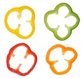 Four colorful slices of bell pepper royalty free stock photo