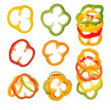 Four colorful slices of bell pepper Royalty Free Stock Photos