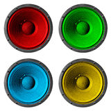 Four colorful speakers set on white background. Royalty Free Stock Images