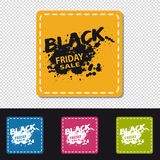 Four Colorful Square Black Friday Sale Buttons - Vector Illustration - Isolated On Transparent Background vector illustration