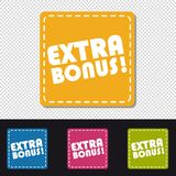 Four Colorful Square Buttons Extra Bonus - Vector Illustration - Isolated On Transparent And Black Background royalty free illustration