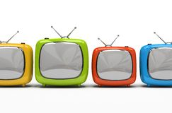 Four colorful television sets Stock Photos