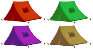 Four colorful tents stock illustration