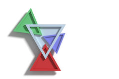 Four colorful three-dimensional triangles crossing each other Stock Photo