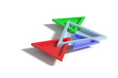 Four colorful three-dimensional triangles crossing each other Royalty Free Stock Images