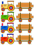 Four colorful tractors Stock Photo