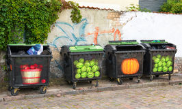 Four colorful trash cans Royalty Free Stock Photos