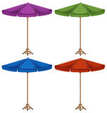 Four colorful umbrellas Stock Photos