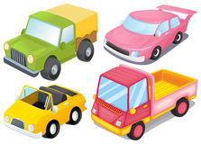 Four colorful vehicles Royalty Free Stock Images