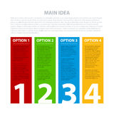 Four colorful vertical banners, numbered from one to four Stock Photos