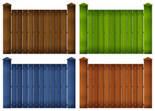 Four colorful wooden fences Stock Photos