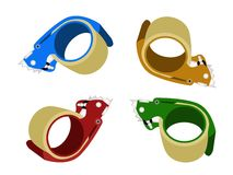Four Colors of Adhesive Tape Dispenser on White Ba Stock Photos