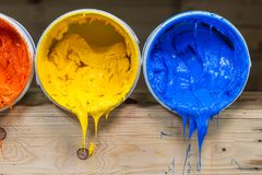 Four colors of ink for print tee shirt flowed out of barrel. Yellow orange and red colors of plastisol ink flowed out of the barrel. plastisol ink is specially Royalty Free Stock Photos