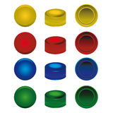 Four colors plastic caps from pet bottles Stock Photography