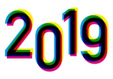 2019 in the four colors of printing, yellow, cyan, magenta and black vector illustration