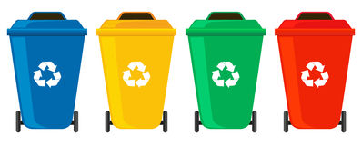 Four colors of rubbish cans. Illustration stock illustration
