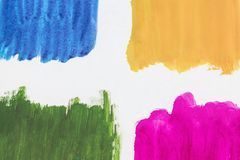 Four colors of watercolor paint on a white background royalty free stock photos
