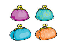 Four colour fun purses. Hammered by money to the full Royalty Free Stock Photo