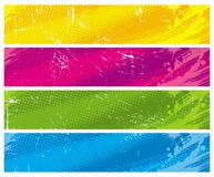 Four colour halftone banners Royalty Free Stock Photography
