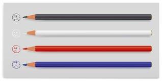 Four colour pencils Stock Photos