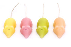 Four coloured sugar mice over white Royalty Free Stock Photos