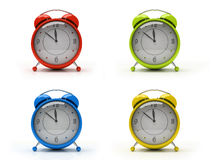 Four colourful alarm clocks isolated on white background 3D. Four colourful alarm clocks isolated on white background royalty free stock photo