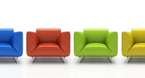 Four colourful armchairs royalty free illustration