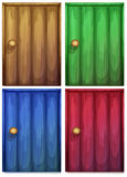 Four colourful doors Stock Photos