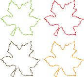 Four Colours of Leaves. Green, Red, Brown and Orange leaves Stock Photos