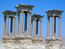 Four columns. At blue sky, in Palmyra, Syria Royalty Free Stock Photo