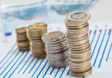 Four columns of coins on the table Royalty Free Stock Photography