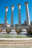 The four columns and the fountains at Espanya Square, Barcelona Stock Photo