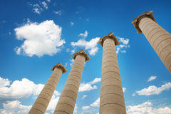 The Four Columns Les Quatre Columnes - near by National Art Museum at Spain Square Royalty Free Stock Photos