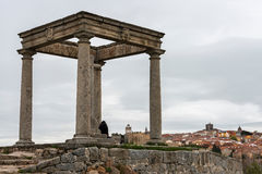 Four Columns monument and panorama of Avila Royalty Free Stock Images