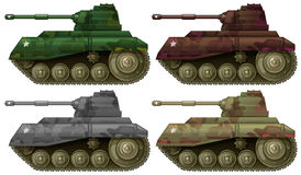 Four combat tanks. Illustration of the four combat tanks on a white background stock illustration