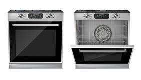 Four compact réaliste du vecteur 3d, cuisinière à gaz Images libres de droits